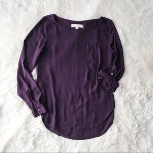 LOFT plum crewneck blouse with tab sleeves Sz XS